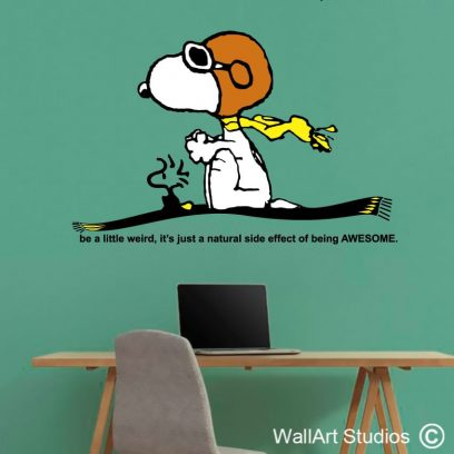 Snoopy Magic Flying Carpet Wall Decal, peanuts, charlie brown, wall art stickers, woodstock, charles schultz