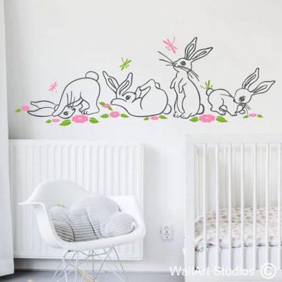 Cute Bunny's, Dragonflies & flowers wall art sticker, rabbits, nursery wall art