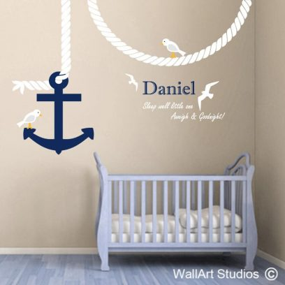 Anchor rope, Seagulls Wall Art Sticker, boys nautical room decor, navy, wall tattoo, personalized wall decal