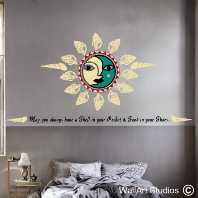 Shell in your pocket, sand in your shoes, wall art sticker, wall decal, tattoo, sun, beach