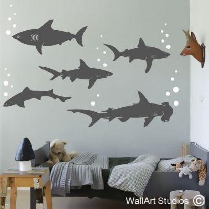 Sharks wall art sticker, great white, hammer head, pilot,ragged tooth,bubbles