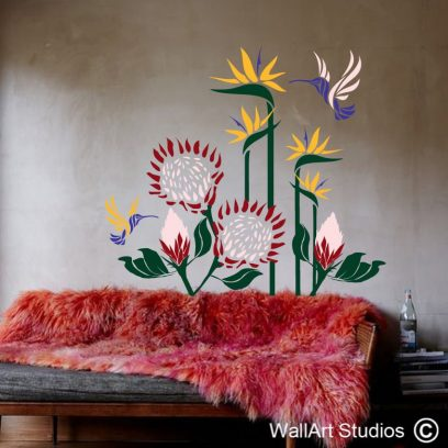 Proteas, Strelitzias & Malachite Sunbirds Wall Art Decal, king protea, wall art sticker, sugar bird, decorative, custom wall art