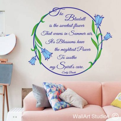 Bluebells Emily Bronte Wall Art Decal, spring, blue bell,floral,wall sticker,poetry,blue, bell