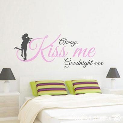 Always Kiss Me Goodnight wall art sticker, valentines day, love, decal, vinyl, romantic