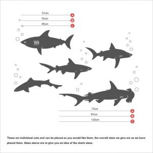 Sharks wall art sticker, great white, hammer head, pilot,ragged tooth,bubbles