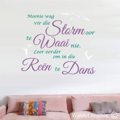 Dans in die Reen Muurplakker, dancing, rain, afrikaans, south africa, free state, seagulls, wall art, wall tattoos, stickers, vinyl