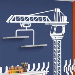 Crane, construction, wall art, decal, stickers, kids room wall art, boys room decor, floating shelves, dump truck, tractor