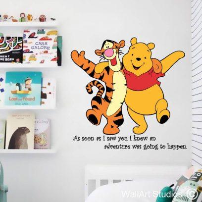 Winnie the Pooh & Tigger Wall Art Sticker, decal, pooh bear, nursery decor, christopher robin, custom designs, art, home decor, school decor