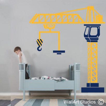 Crane Construction Wall Art Decal, boys room decor, stickers, tattoos, sticky things, fun, kids wall art, excavator, dump truck, cement truck, kids wall vinyl stickers,