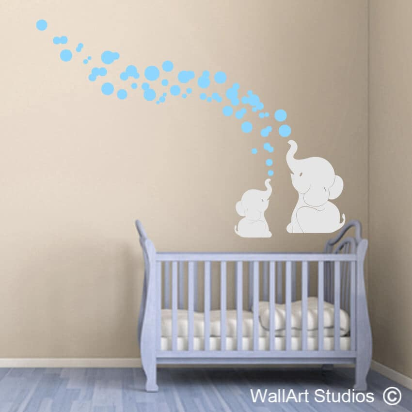Elephant bubbles wall art sticker wallart studios for Funny elephant wall decals for nursery