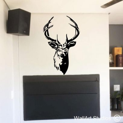 Stag's Head Wall Art Decal, stickers, home decor, hunting, beauty with out cruelty, stag, antlers, deer, buck