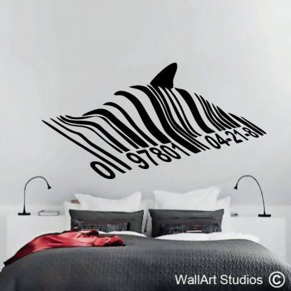 Bansky Barcode Shark Wall Decal, graffiti, sticker, wall art, murals
