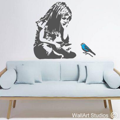 Bansky Blue Bird Little Girl wall art decal, grafitti, street art, stickers, custom