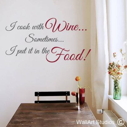 Cook with Wine Food wall art sticker, bar wall stickers, inspirational quotes, mother's day gift ideas, kitchen wall decals