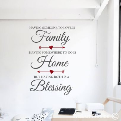 Family, Home, Blessing wall art Sticker, home decor, inspirational wall quotes, living room wall tattoos, custom wall art