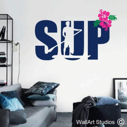 Stand Up Paddling Wall Art. stickers, decals, wall tattoos, sticky things, hibiscus flowers, leaves, surf, sport, sup, water sports, bertish