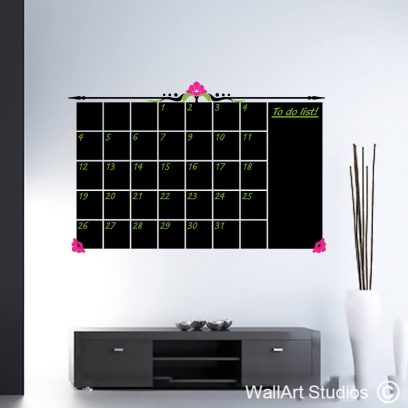 Chalkboard Decorative Monthly Planner, vinyl wall decal, stickers, kitchens, boardrooms, white board, black board, chalk pens, reward, free, decal