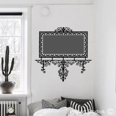 Decorative Filigree frame; chalkboard, wall sticker, wall art, vinyl sticker