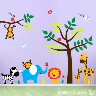 Jungle theme safari animals nursery wall art, giraffes, elephant, birds, zebra, monkeys, trees, stickers, decals, nursery decor, girls room ideas, boys room ideas, colourful, custom wall art designs,