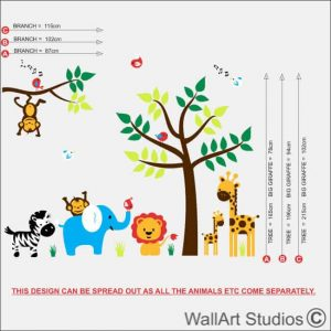 KN38 Jungle theme safari animals nursery wall art size