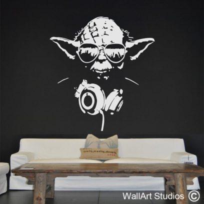 YO Yoda wall decal, star wars, funky, fun, wall stickers, yoda, headphones