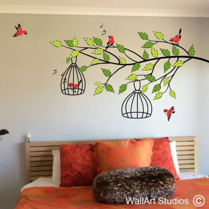 Bird cages cute little birds on branch, wall art, stickers, wall tattoos, decals, custom made, leaves, branches