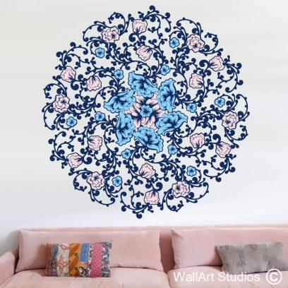 Rose Flower Mandala Wall decal, wall art, stickers, vinyl, floral, roses, leaves, pattern, custom designs