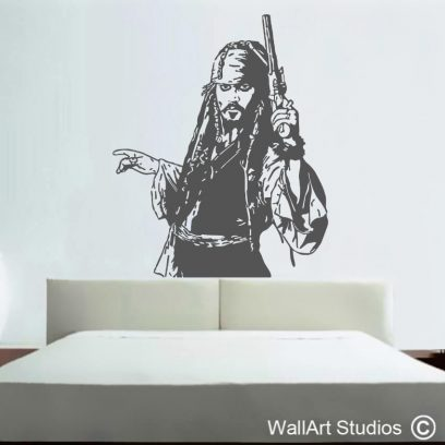 Jack Sparrow Pirates of the Caribbean Decal, johnny depp, salazar's revenge, wall sticker, wall art, vinyl, removable, famous,movie, custom wall stickers, pirate, captain
