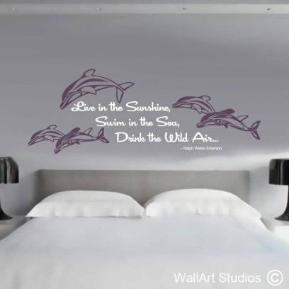 Dolphins Emerson Wall Quote, ralph waldo emerson, sea, dolphin, ocean, stickers, decals, wall tattoos, modern, home decor, custom, handmade, nautical, animals