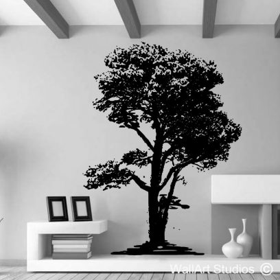Oak Tree Silhouette Wall Sticker, nature, forest, trees, large wall murals of trees, pine tree, birds, decal, removable, vinyl, custom designs, home decor, office decals, nursery ideas, rooms, wall art