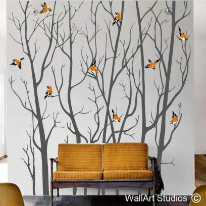 Forest Silhouette Winter Birds Decal, sparrow, cute, branches, twiggy, bush, bird, tree wall decor, mural, large wall art stickers of trees, birch, poplar, oak, sticker, removable, vinyl, custom