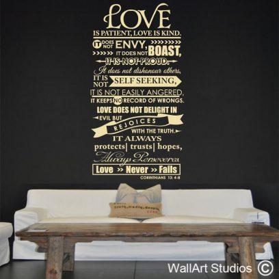 Corinthians 13 4-8, religious wall quotes, bible, wall art, stickers, love, god, jesus, christian, king james, vinyl, prayer, praise, lord