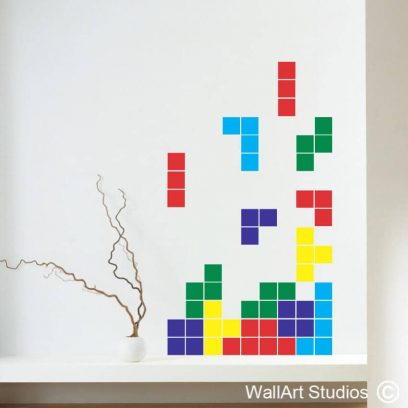 Tetris Wall Sticker, puzzle game, video game, decal, vinyl, removable, custom, gaming, wall art