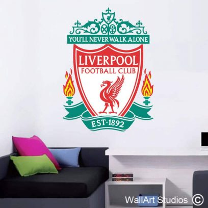 Liverpool Football Club Wall Sticker, soccer, decal, custom, vinyl,Merseyside, England, anfield, stickers, tattoos, hme decor, boys room decor, sport, fans, sport theme, fc, club, logo