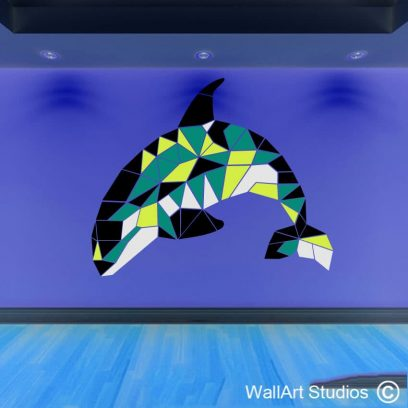 Orca Whale Geometric Wall Art Decal, stickers, whales, stained glass, art, wall tattoos, killer whale decor, home decor, funky art, custom designs, unique graphics, wallart studios