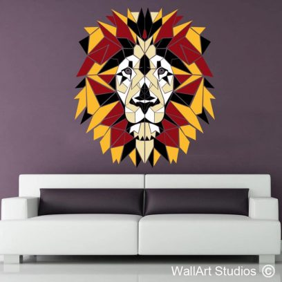 Lion Geometric Polylines Wall Sticker, decal, tattoos, leo, simba ,africa, stained glass, abstract, removable vinyl, modern wall decor, wall murals, ethnic decals, home decor, custom designs