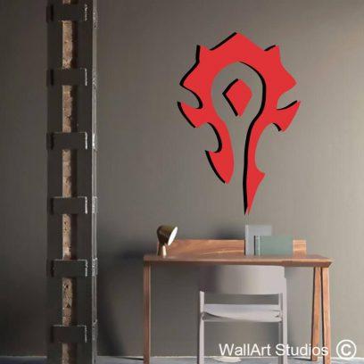 World of Warcraft Horde Wall Decal, orcs, emblem, stickers, wall art, gamer decals, wow, gamer wall decor, boys room ideas, man cave decor, horde, alliance