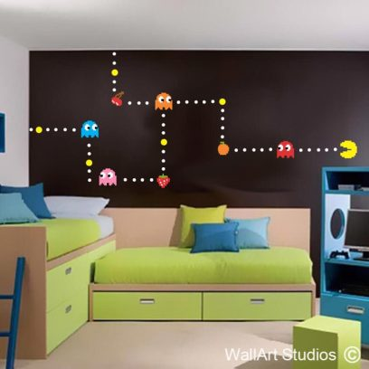 Pacman Wall Sticker, decals, gaming decor, vinyl, removable, inky, pinky, pacman, video, arcade, games, man cave, nom nom, funky, cool
