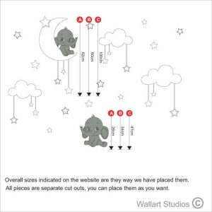 KN 39 elephant & moon stars nursery decal size