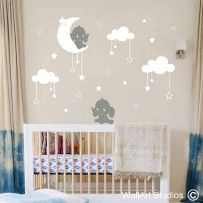 Elephants & Moon Stars nursery decal, clouds wall stickers, stars, moon, baby room ideas, nursery decor, removable vinyl wall tattoos, custom wall art, wall art studios