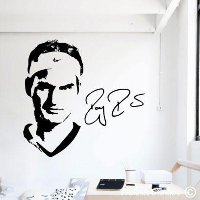 Roger Federer Wall Decal, stickers, wimbledon, sports, sport theme decor, man cave decor, wall decor, tennis, champion, winner
