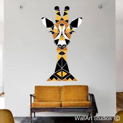 Giraffe Geometric Abstract Wall Decal, big 5, africa, wall stickers, custom wall art, wall murals, guest house decor, home decor, safari decor, safari animals, corporate decor, corporate branding,