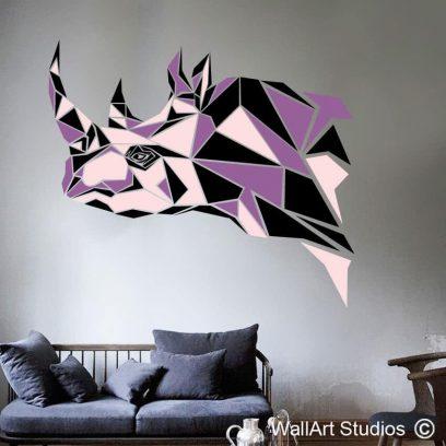 Rhino Head Geometric Abstract Wall Art, africa, ethnic, polylines, wall art studios, custom decals, custom wall art, graphic design, , wall murals, home decor, corporate decor, interior design, guest house decor, rhino geometric wall tattoo