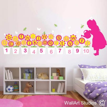 Alphabet Mary Quite Contrary Educational Wall Decal, vinyl stickers, girls nursey decor, abc, 123, numbers, letters, flowers, butterflies, dragonflies, alphabet wall decals, dragonflies stickers, educational wall decals