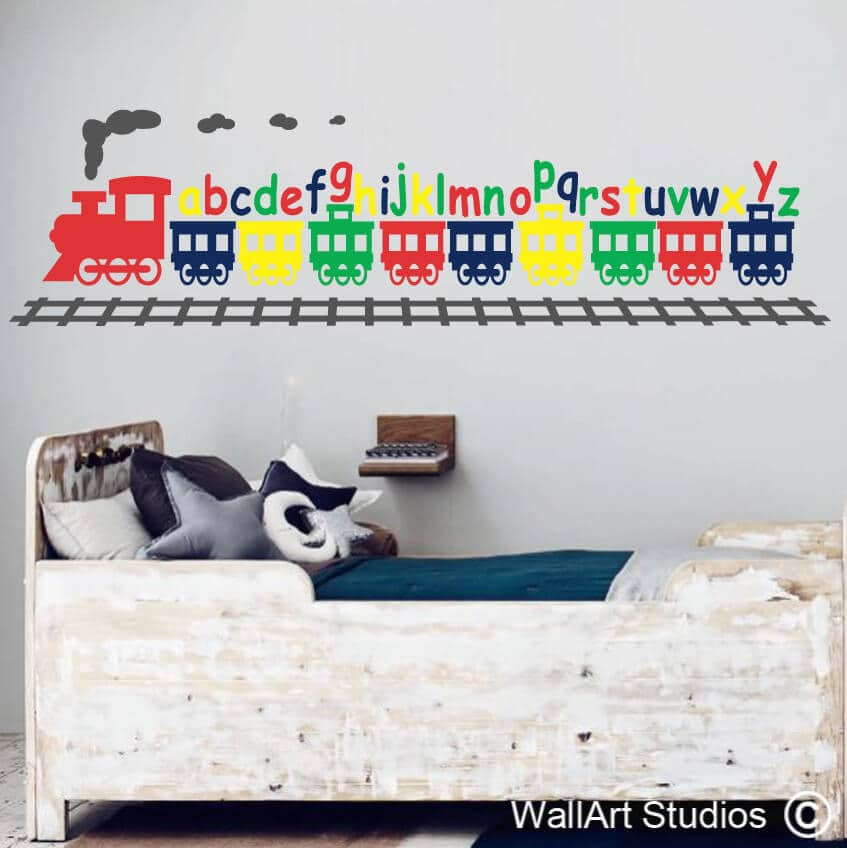 alphabet train wall decal | abc stickers online | wall art studios sa