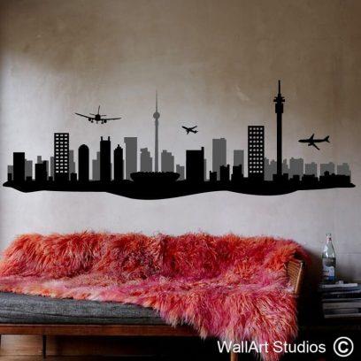 Johannesburg Skyline Silhouette, jozi, planes, buildings, gauteng, stickers, decals, wall tattoos
