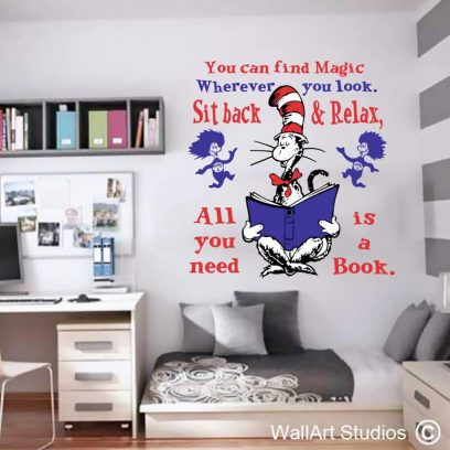 Dr Seuss You can Find Magic, stickers, decals, decals, wall tattoos, custom, wall murals, kids decor,school decor, library stickers, cat in the hat, thing 1 thing 2
