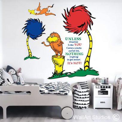 Dr Seuss The Lorax, stickers, wall art, swomee swan, truffula trees, wall murals,room wall art, LIBRARY, SCHOOL, DECOR, KIDS ROOMS