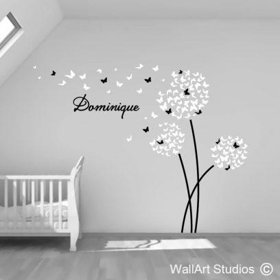 Butterfly Dandelions Wall Sticker, decals, vinyl, custom, wall murals, kids decor, nursery decor, nature, flowers, butterflies, personalized wall decal,