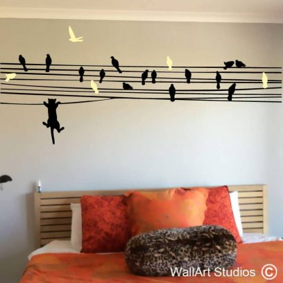 Cat Chasing Birds on Wire, naughty kitty, stickers, wall art, decals, murals. vinyl. removable, kitten, cats, birds, wire, nature
